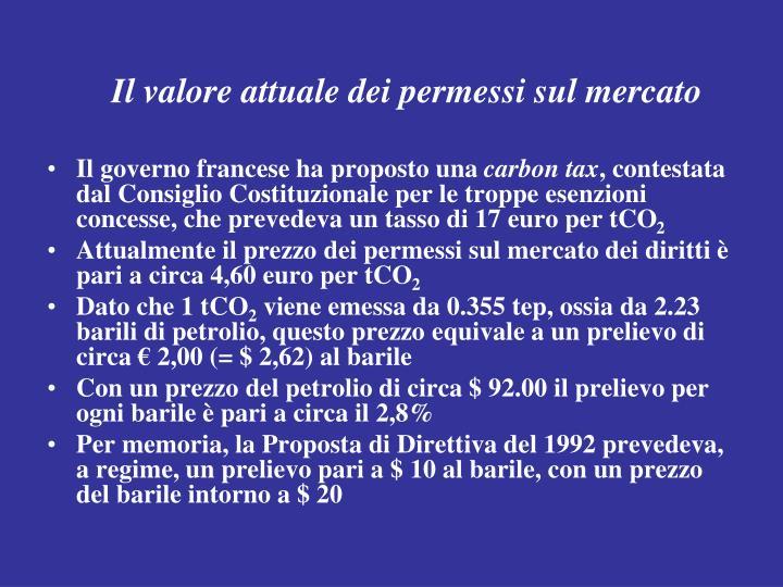 Il valore attuale dei permessi sul mercato