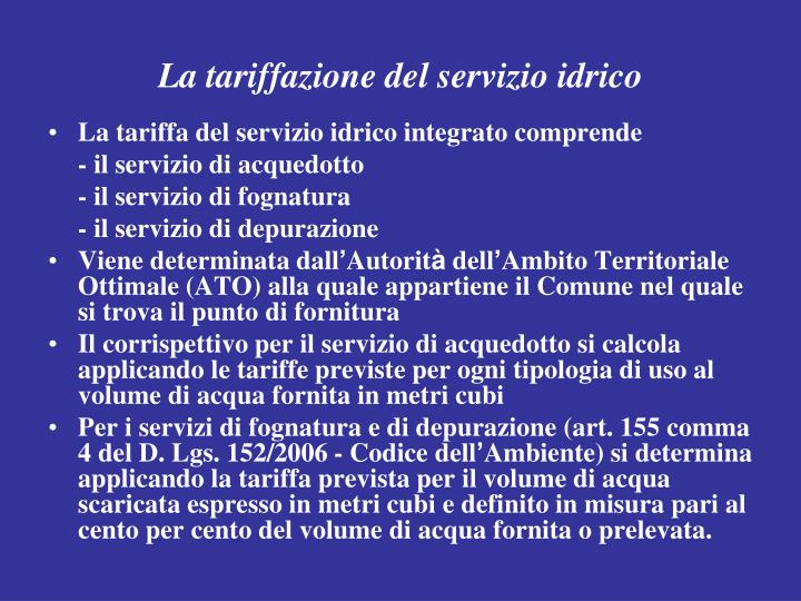 La tariffazione del servizio idrico