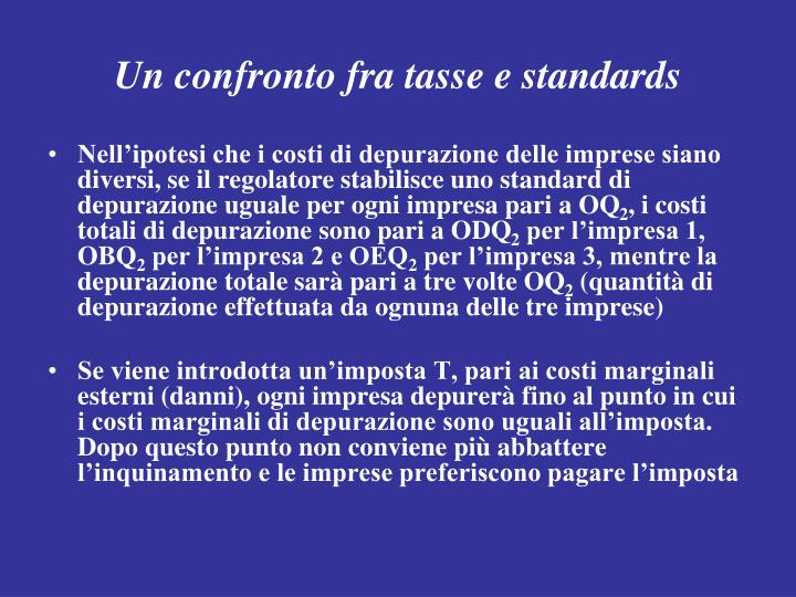 Un confronto fra tasse e standards