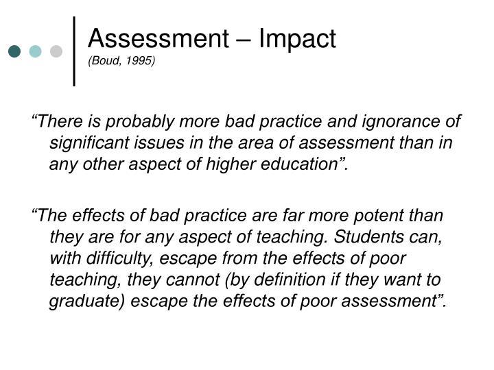 Assessment – Impact