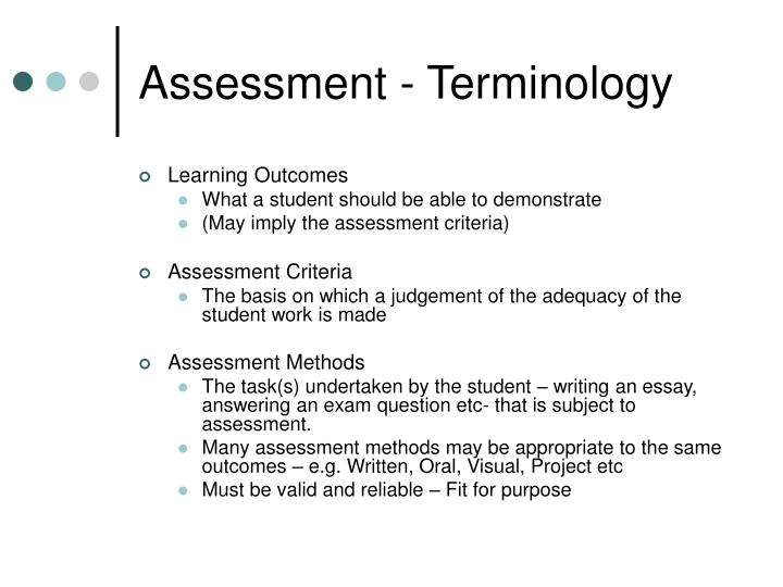Assessment - Terminology