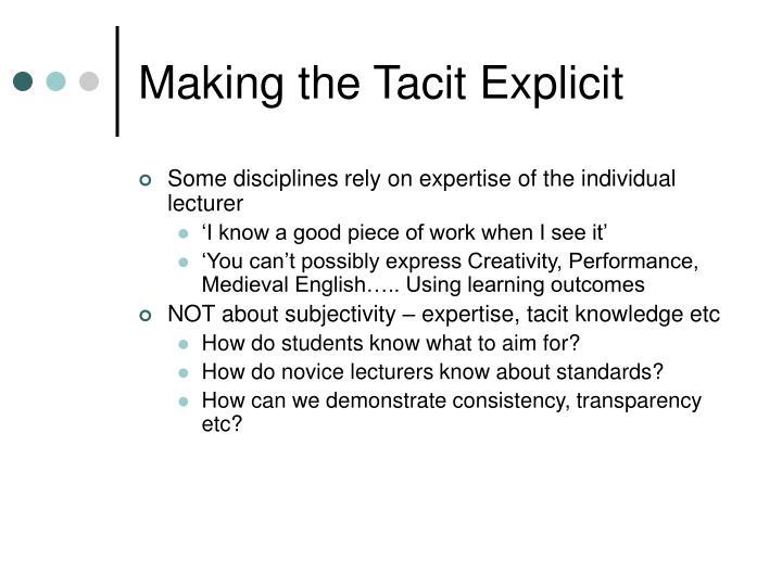 Making the Tacit Explicit