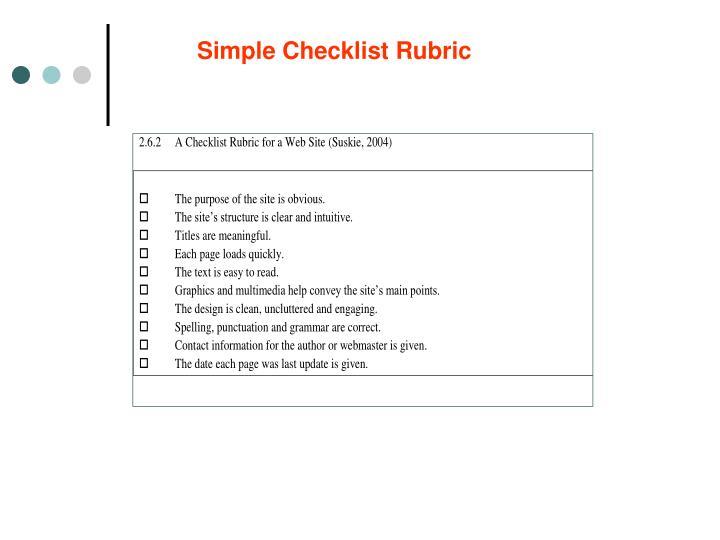 Simple Checklist Rubric