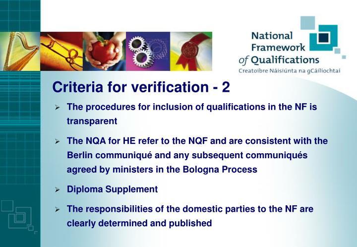 Criteria for verification - 2