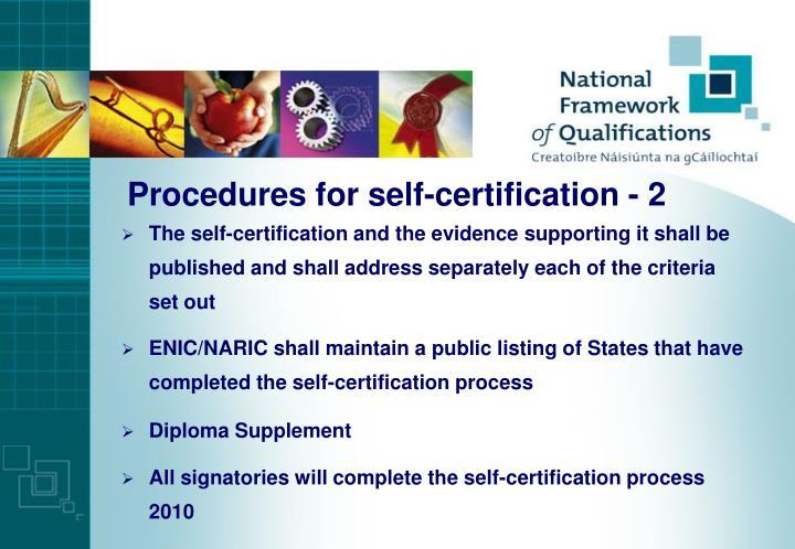 Procedures for self-certification - 2