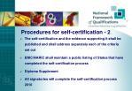 procedures for self certification 2