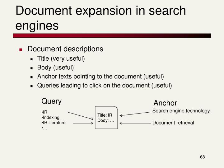 Document expansion in search engines