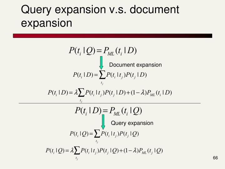 Query expansion v.s. document expansion