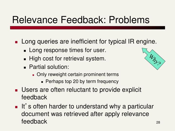Relevance Feedback: Problems