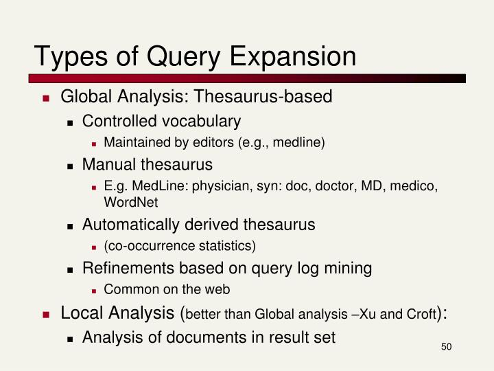 Types of Query Expansion
