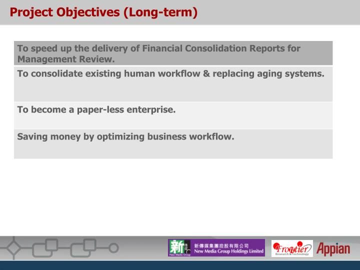 Project objectives long term