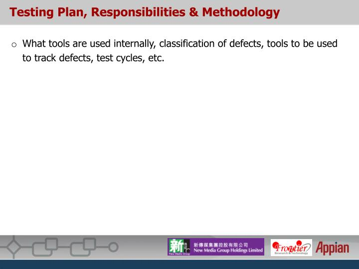 Testing Plan, Responsibilities & Methodology