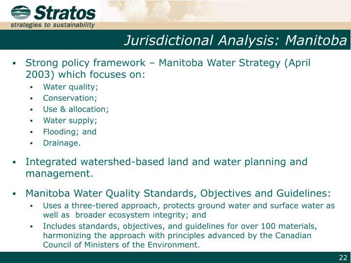 Jurisdictional Analysis: Manitoba