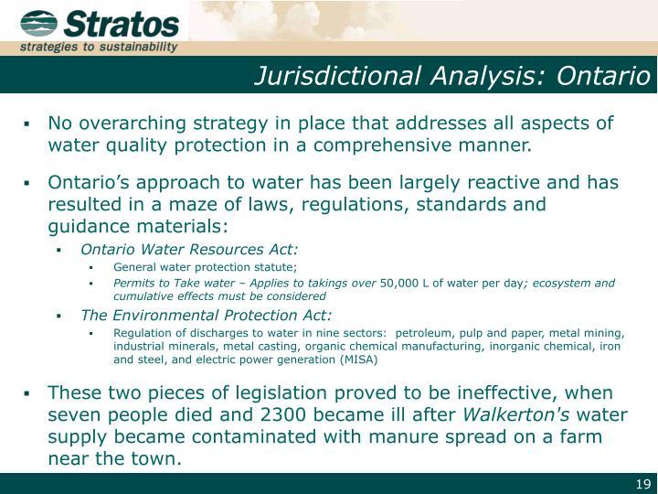 Jurisdictional Analysis: Ontario