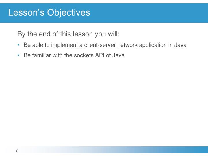 Lesson s objectives