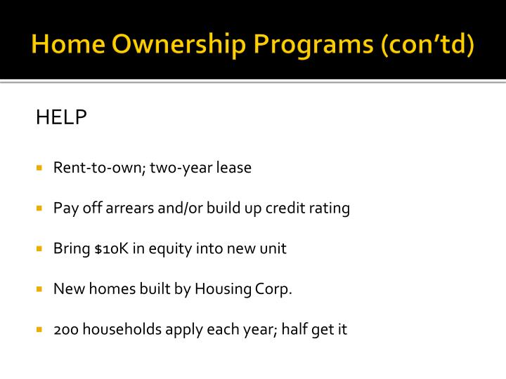 Home Ownership Programs (
