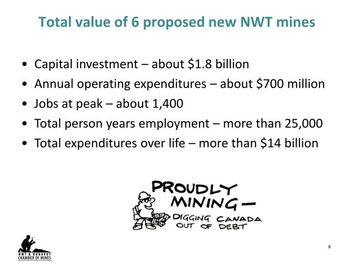 Total value of 6 proposed new NWT mines