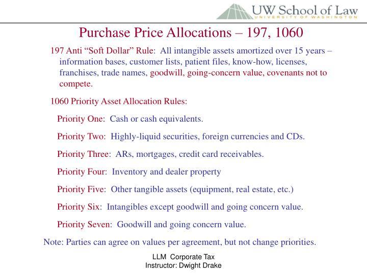 Purchase Price Allocations – 197, 1060