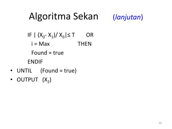 Algoritma Sekan