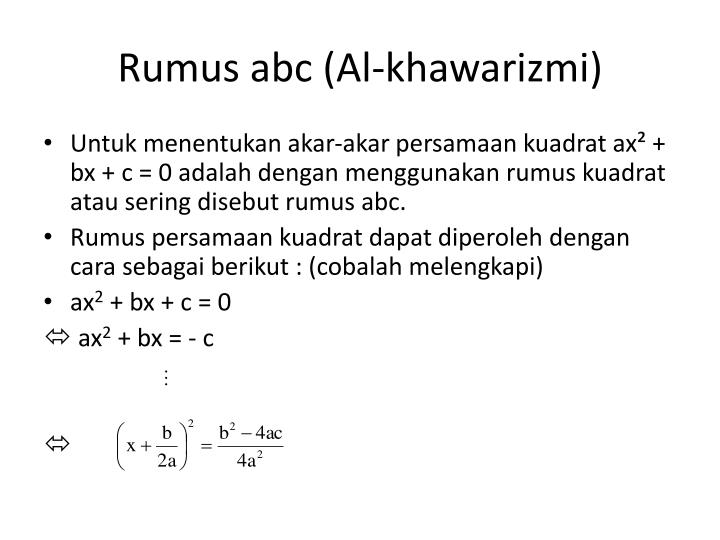 Rumus abc (Al-khawarizmi)