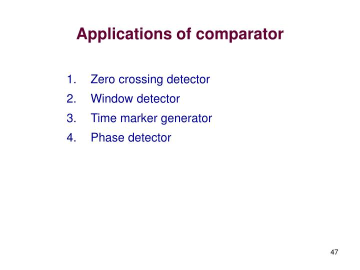 Applications of comparator