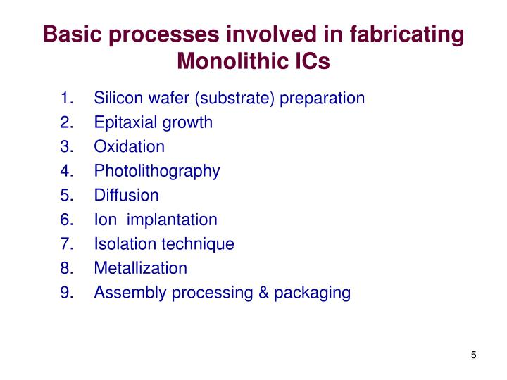 Basic processes involved in fabricating Monolithic ICs