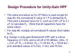 design procedure for unity gain hpf