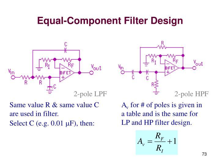 Equal-Component Filter Design