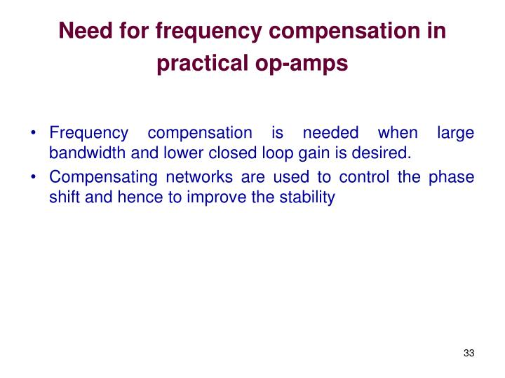 Need for frequency compensation in practical op-amps