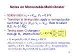 notes on monostable multivibrator