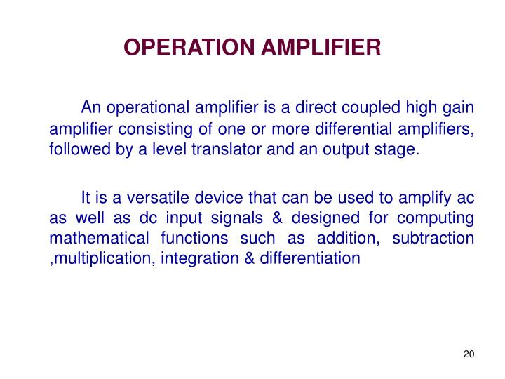 OPERATION AMPLIFIER