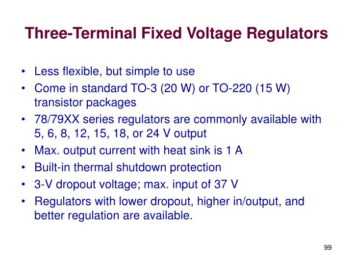 Three-Terminal Fixed Voltage Regulators