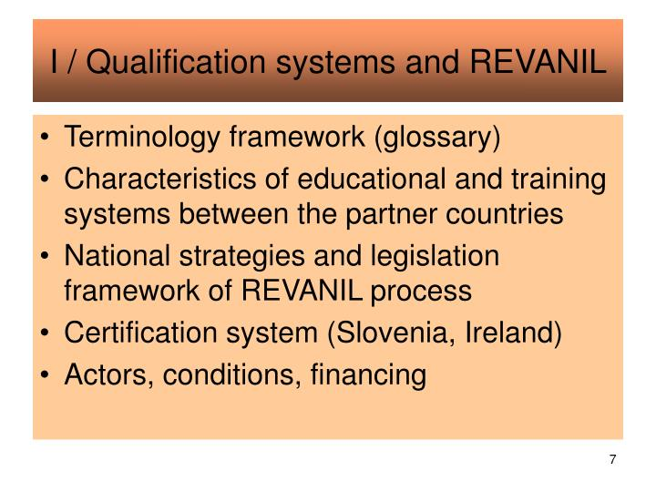 I / Qualification systems and REVANIL