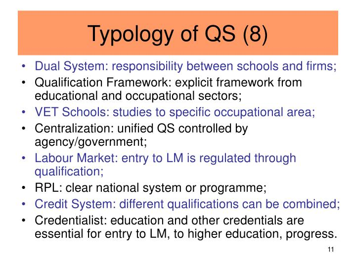 Typology of QS (8)
