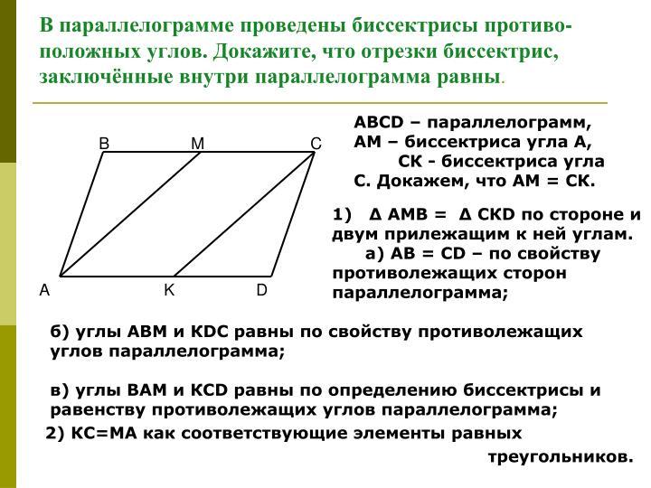 В параллелограмме проведены биссектрисы противо