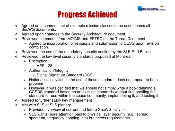 Progress Achieved