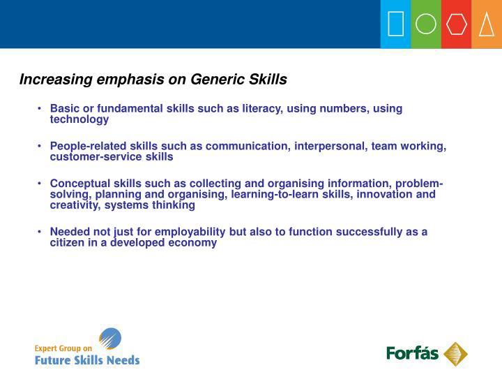 Increasing emphasis on Generic Skills
