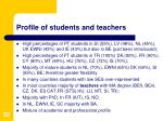 profile of students and teachers