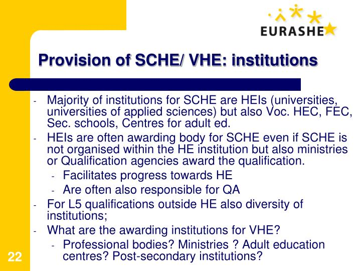 Provision of SCHE/ VHE: institutions