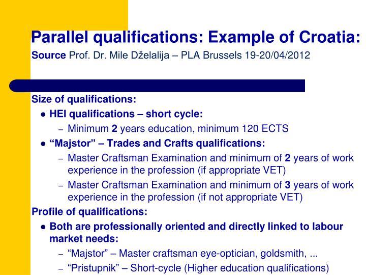 Parallel qualifications: Example of Croatia:
