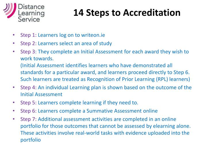 14 Steps to Accreditation