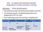 aim to support 60 participants towards employment or further education training