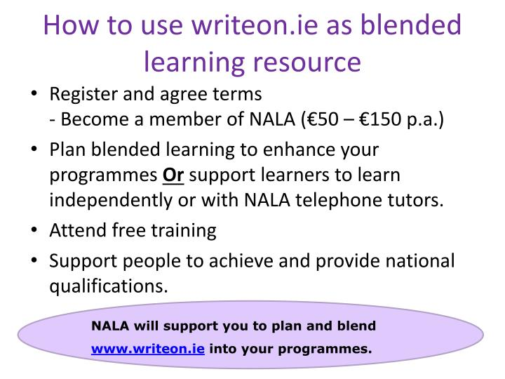 How to use writeon.ie as blended learning resource