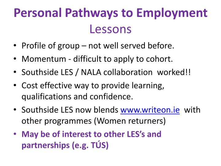 Personal Pathways to Employment