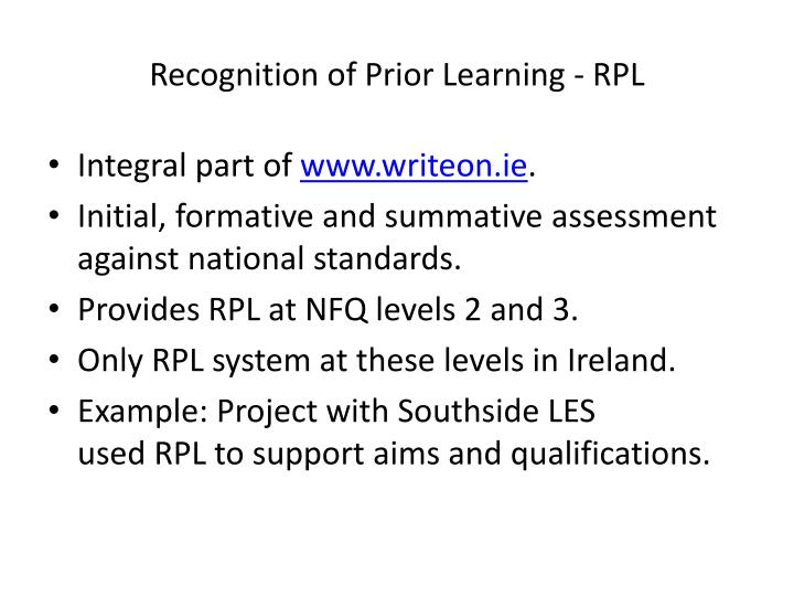 Recognition of Prior Learning - RPL