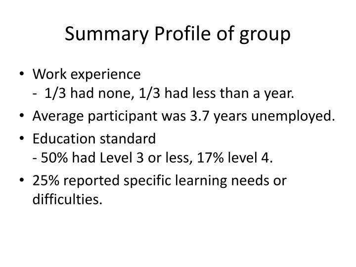 Summary Profile of group