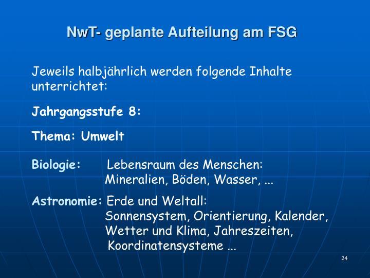 NwT- geplante Aufteilung am FSG