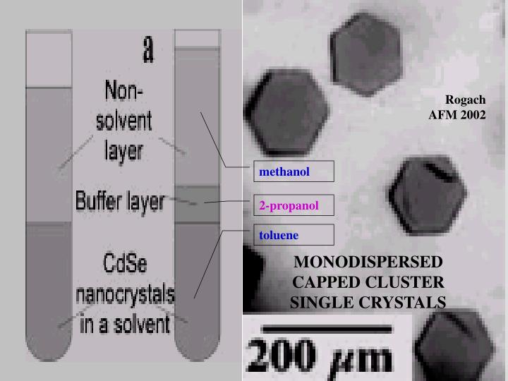 MONODISPERSED CAPPED CLUSTER SINGLE CRYSTALS