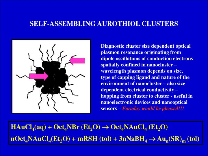SELF-ASSEMBLING AUROTHIOL CLUSTERS