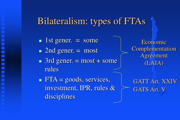 Bilateralism: types of FTAs